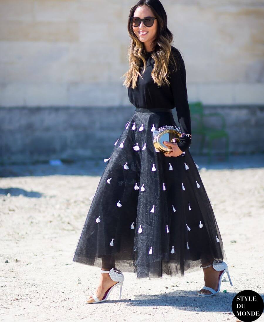 Love a tulle skirt but unsure how to wear it without looking childlike? Here are some tips on how to wear a tulle skirt and look chic while doing it! #tulleskirt #howtowearatulleskirt #styleinspiration #tulipandsage