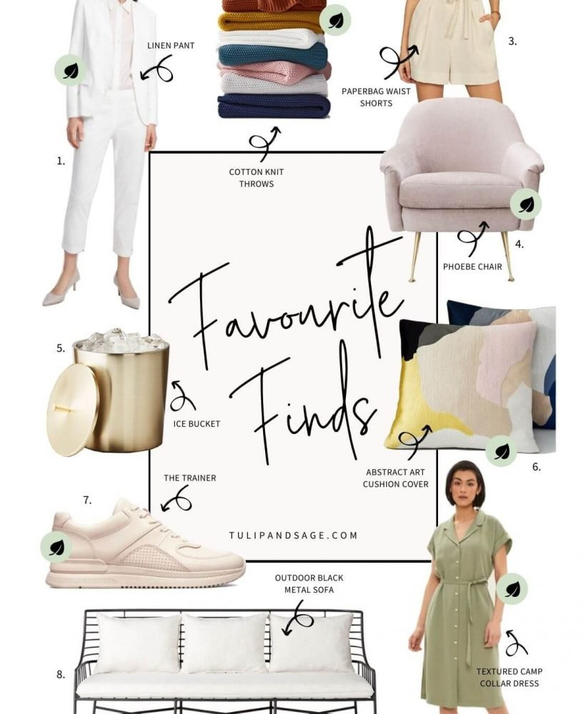 Welcome to this week's Favourite Finds. On this week's list, you'll find a pretty-in-pink accent chair, a sleek outdoor sofa on sale, and so much more! #tulipandsage #favoritefinds #sustainablefashion #weeklyfavorites