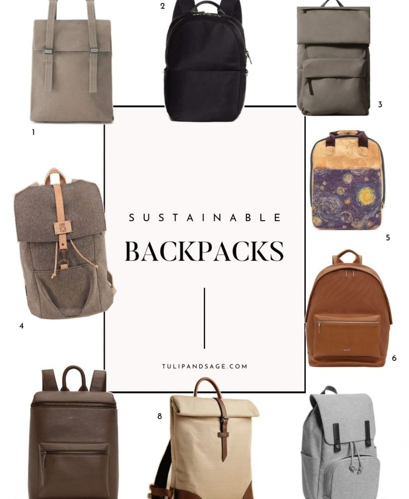 Looking for some sustainable back-to-school essentials? We've got you covered! Here are 9 sustainable backpacks we're loving right now! #tulipandsage #sustainablebacktoschool #sustainablebackpacks #backtoschoolshopping