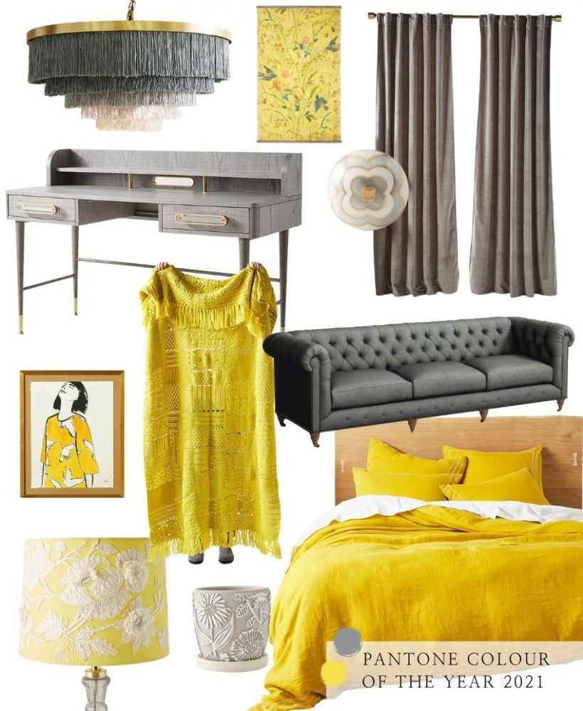 On this week's Monday Muse, we're celebrating Pantone's 2021 colour of the year - Ultimate Gray and Illuminating! Find interior inspo & decorating faves! #pantone2021 #pantone2021colortrendsinterior #pantonecolors #yellowandgreyinterior #tulipandsage