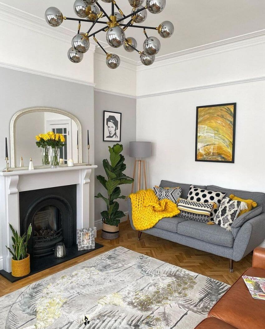 source: harrison_nate_and_me/ On this week's Monday Muse, we're celebrating Pantone's 2021 colour of the year - Ultimate Gray and Illuminating!  Find interior inspo & decorating faves! #pantone2021 #pantone2021colortrendsinterior #pantonecolors #yellowandgreyinterior #tulipandsage