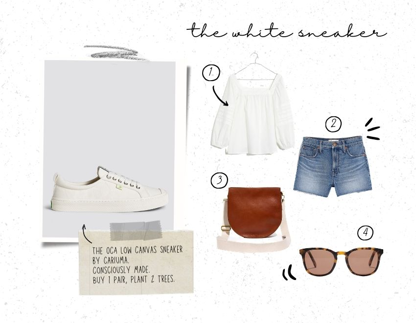 A white sneaker is a must-have wardrobe staple! Here are 4 super cute (and oh-so-comfy) white sneakers outfit ideas to wear this spring + summer! #whitesneakers #whitesneakersoutfit #whitesneakerswomen #whitesneakersspringoutfit #tulipandsage