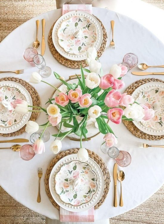 source: thediaryofadebutante/ Happy (almost) Easter! Looking for some Easter tablescapes to inspire your table setting this year? Here are the beautiful ones inspiring me! #eastertablescapes #eastertablescapesideas #eastertablesettings #eastertabledecor #easter #tulipandsage
