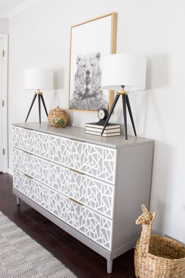 source - erinspain.com/ Who else is obsessed with IKEA dresser hacks?! Looking for ways to refresh your IKEA dresser or chest of drawers? Here are my absolute favourite hacks! #ikeahacks #ikeahackideas #ikeadresserhack #ikeadressermakeover #ikeachestofdrawershack #tulipandsage