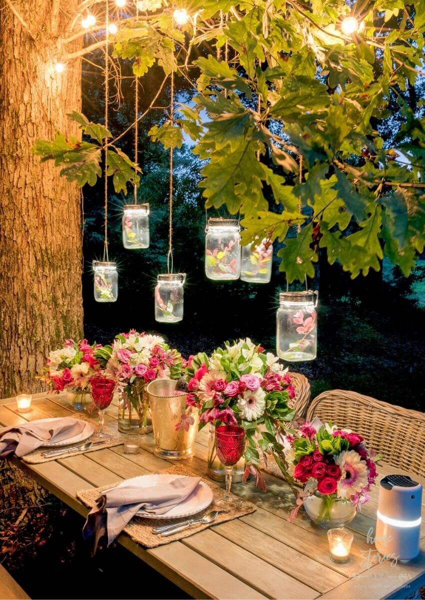 source - homestoriesatoz.com/ Outdoor spaces and string lights are a pair made in summertime heaven!  Here are some magical summertime string light spaces to make you smile! #outdoorstringlights #outdoorstringlightsideas #stringlights #outdoorsummerstringlights #summerstringlights #tulipandsage